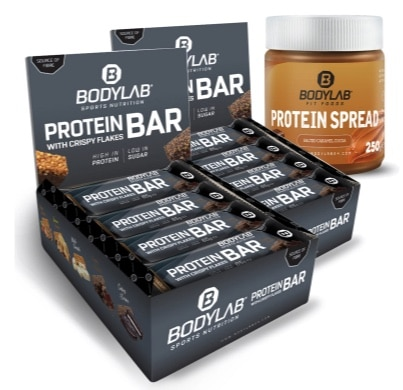 24x Bodylab24 Crispy Protein Riegel und Protein Spread