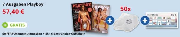 Playboy Print + Gratis 50 FFP2-Masken + 45 Euro BestChoice-Gutschein