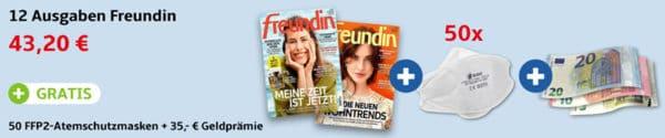 freundin + Gratis 50 FFP2-Masken + 35 Euro Geldprämie