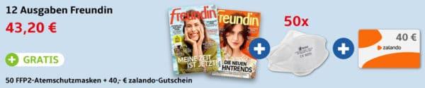freundin + Gratis 50 FFP2-Masken + 40 Euro Zalando-Gutschein