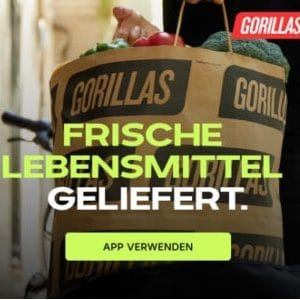 🚲🛒 50€ Gorillas Gutschein für die ersten 5 Bestellungen (Lebensmittel in 10 Min. geliefert)
