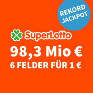 😱🏆 98,3 Mio. € Jackpot 🍀 6 Felder für nur 1€ (für Neukunden) 💰 50% für BK 🤩 Größter Jackpot Europas