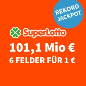 😱🏆 101,1 Mio. € Jackpot 🍀 6 Felder für nur 1€ (für Neukunden) 💰 50% für BK 🤩 Größter Jackpot Europas