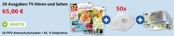 tv Hören & Sehen + Gratis 50 FFP2-Masken + 45 Euro Geldprämie