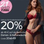 20% + Versandkosten sparen auf  Beauty,  Damen- & Herrenwäsche bei Galeria für Kundenkarteninhaber ab 49€