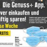 """GRATIS """"5 blaue 3-lagige Einweg-Mund-Nasen-Masken"""" bei Edeka-Rhein-Ruhr mit Genuss+App ab 5€ Einkauf vom 23.-28.11.20"""