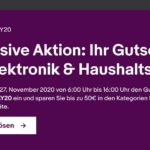 Ebay: Bis zu 50€ Rabatt am 27.11.20 auf Elektronik & Haushaltsgeräte