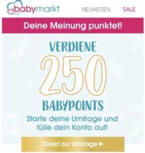 Gratis: 250 babypoints für kurze Umfrage von babymarkt.de