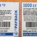 Bis 1.000 Payback-Punkte für Google-Play-Karten im Rewe-Markt vom 22.-28.02.21