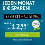 o2 12GB LTE Allnet Flat 12,99 Euro monatlich kündbar Handyvertrag.de