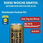 [Lidl Plus App] Gratis Perlenbacher Premium Pils zum Tag des Bieres ab einem Einkaufswert von 10€