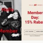 Member-Day bei H&M: 15 Prozent Rabatt für Mitglieder