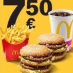 1 Doppelpack Menü 2 Klassiker nach Wahl + 0,4l Softdrink + mittlere Pommes für 7,50€ (statt 11,50€) bei McDonald's