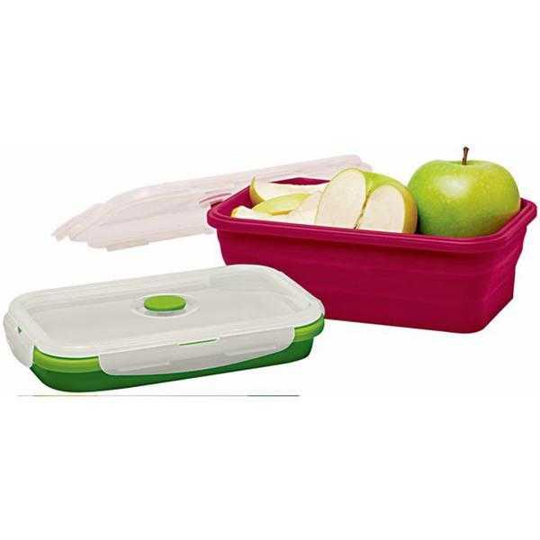 10er-Set Silikon-Frischhaltedosen (faltbare Lunch-Bento-Box /  5 x rot 1200 ml + 5x grün 800 ml) für 17,95€ (statt 70€)