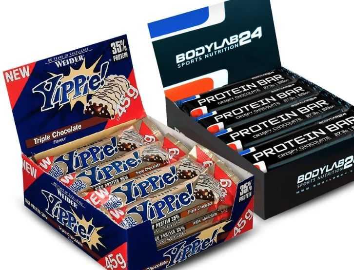 12x Bodylab24 Protein Riegel 12x Weider Protein Riegel