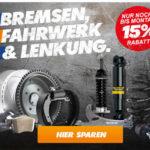 15% Rabatt auf Bremsen, Fahrwerk & Lenkung