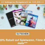 20%-Gutschein auf Spielsachen, Filme, Games, etc. + versandkostenfrei
