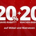 20% Neujahrs- + 20% Kracher-Rabatt bei Höffner