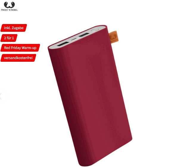 2x FRESH N REBEL Powerbank 18.000 mAh Rot für 25€ (statt 56€)