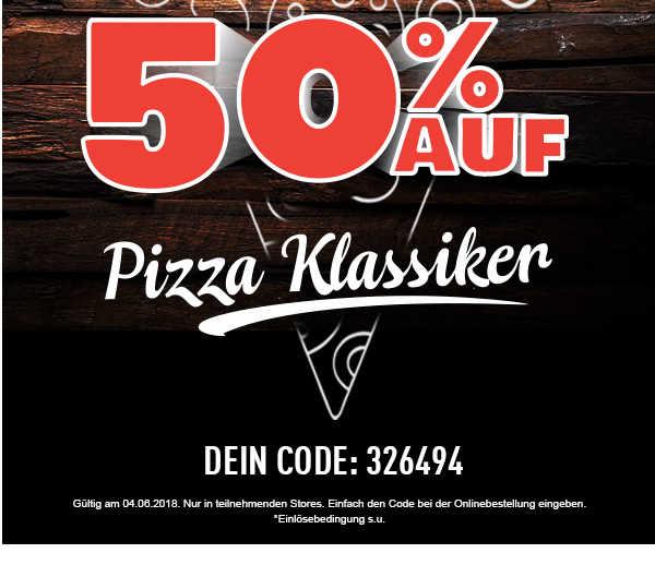 50 rabatt auf pizza klassiker bei dominos nur heute fuer lieferung