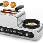 Frühstücksmaschine 🍳🍞 Toaster&Pfanne von Rozi in silber mit 1230 W