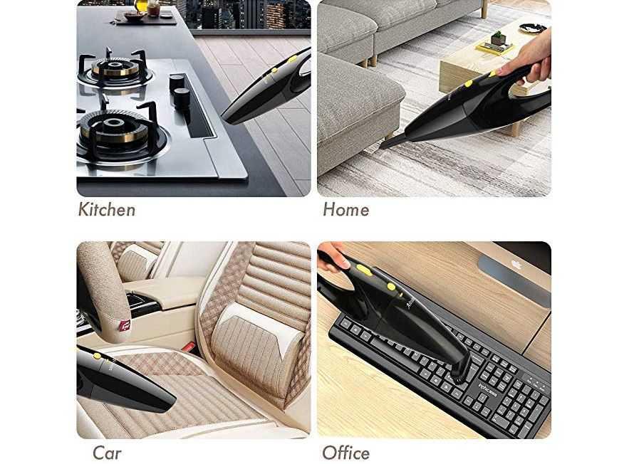 Aitsite Akku Handstaubsauger 120W Leistungsstarker tragbarer Auto Staubsauger Mini Nass  und Trockensauger mit Akku 120W Schwarz 1