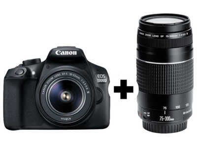 CANON EOS 1300D Kit DFIN III Spiegelreflexkamera 18 Megapixel mit Objektiv 18 55 mm  75 300 mm f 5.6  f 5.6  7.5 cm    WLAN 2