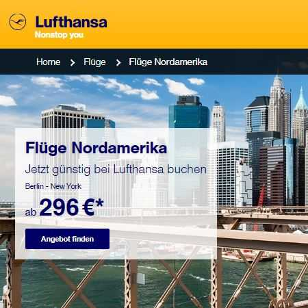 Flug nach Nordamerika ab 296 Euro buchen