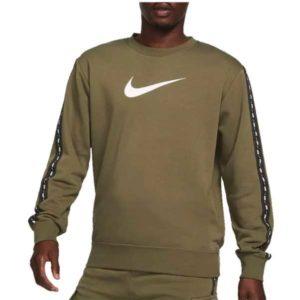 NikeFreizeitpulloverSportswearRepeatFleeceCrewBBolivegruenweiss