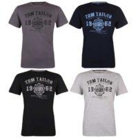 Tom Tailor Herren Logo T Shirt Rundhals O Neck Tee Basic 4er Pack