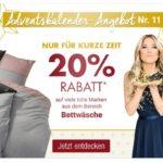 Adventskalender-Angebote bei Galeria Kaufhof: 20% Rabatt auf viele Marken aus dem Bereich Bettwäsche
