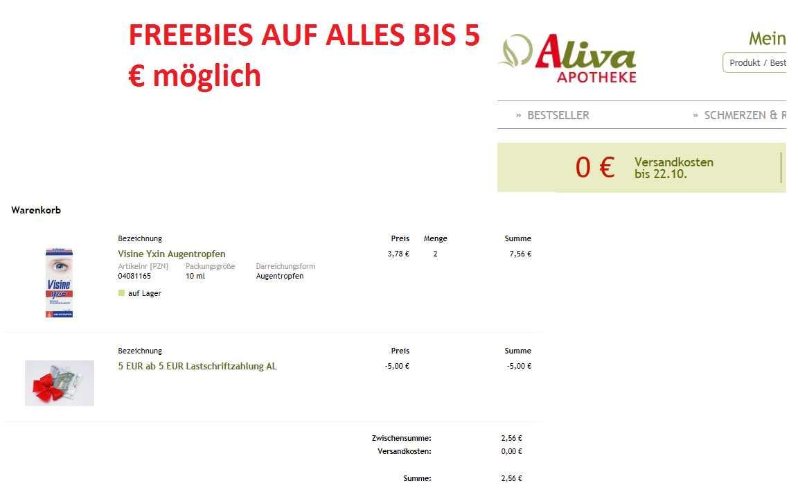 aliva apotheke keine versandkosten 5e lastschriftbonus 5e mbw bis 28 02