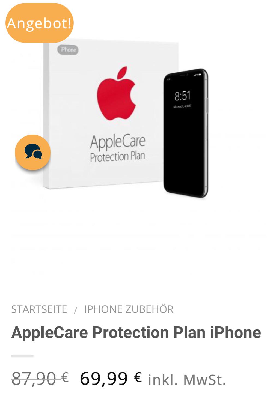 applecare protection plan iphone fuer 6999e anstatt 8790e