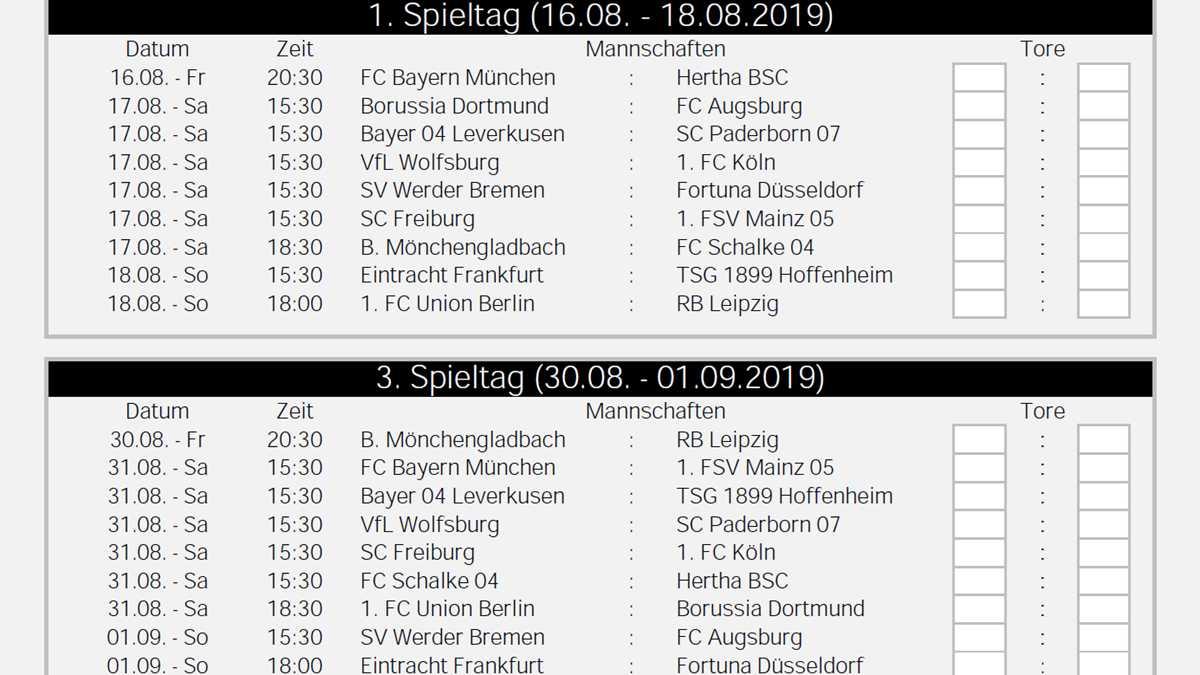 Spielplan Fussball Bundesliga