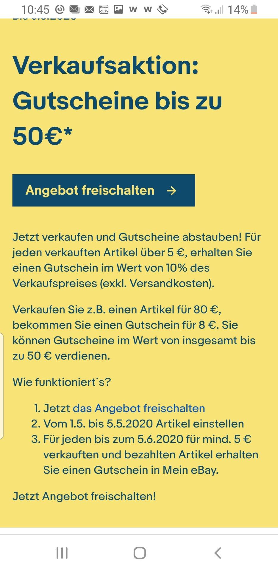 Ebay 10% Gutschein