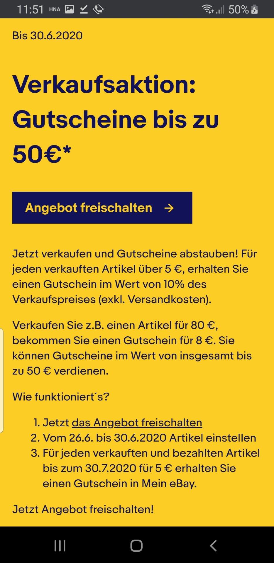 eBay: Bis zu 50€ als Gutschein zurückbekommen (Verkaufsaktion für Berechtigte)
