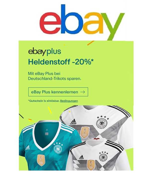ebayplus 20 rabatt auf alle deutschlandtrikots