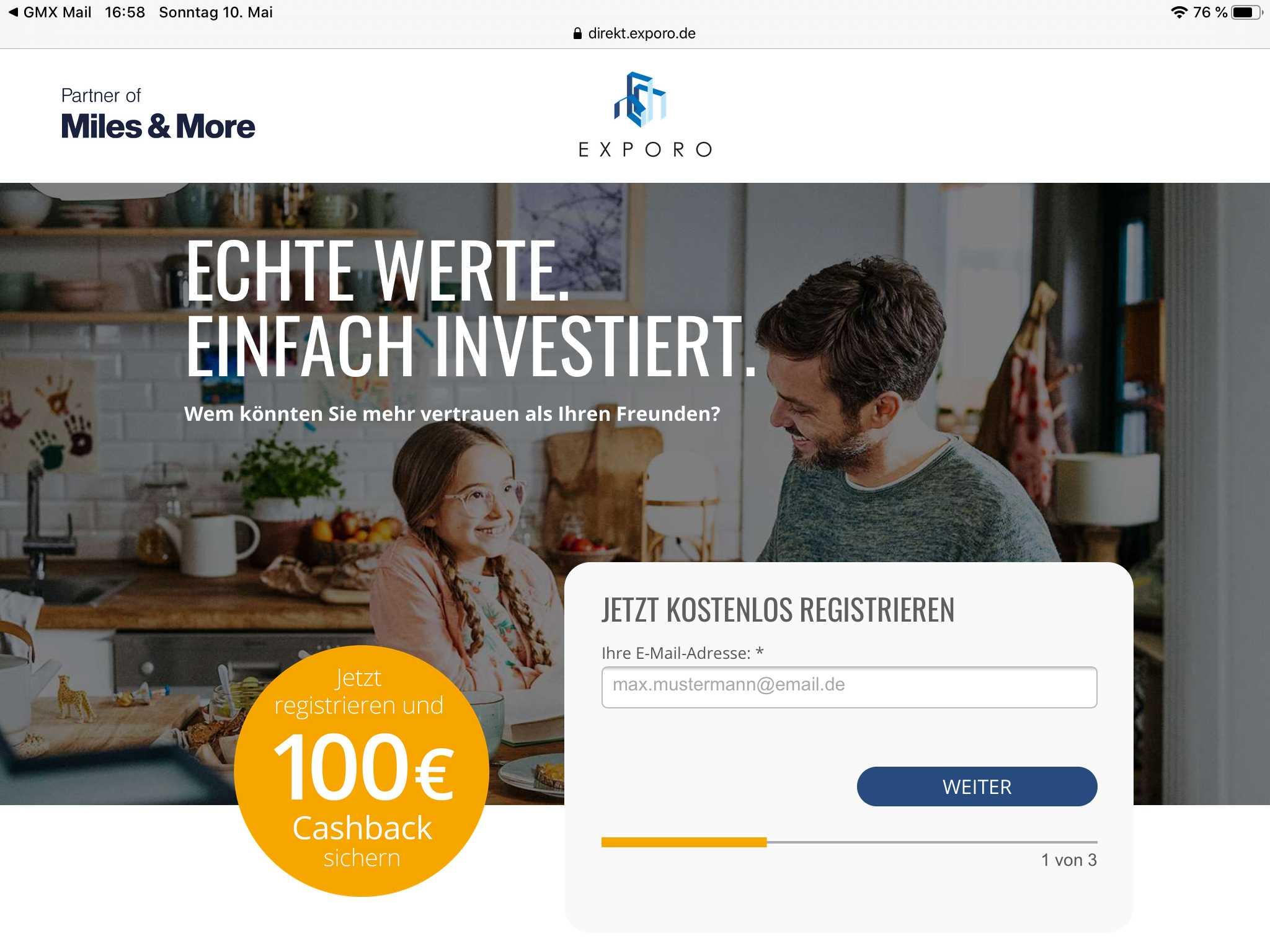 Exporo: 2x 100€ dank Freunde werben: 100€ Cashback (bei 500€ Invest) + 100€ für Werber