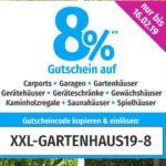 GARTENXXLDE - 8% auf Gartenhäuser, Gewächshäuser, Carports & Co.