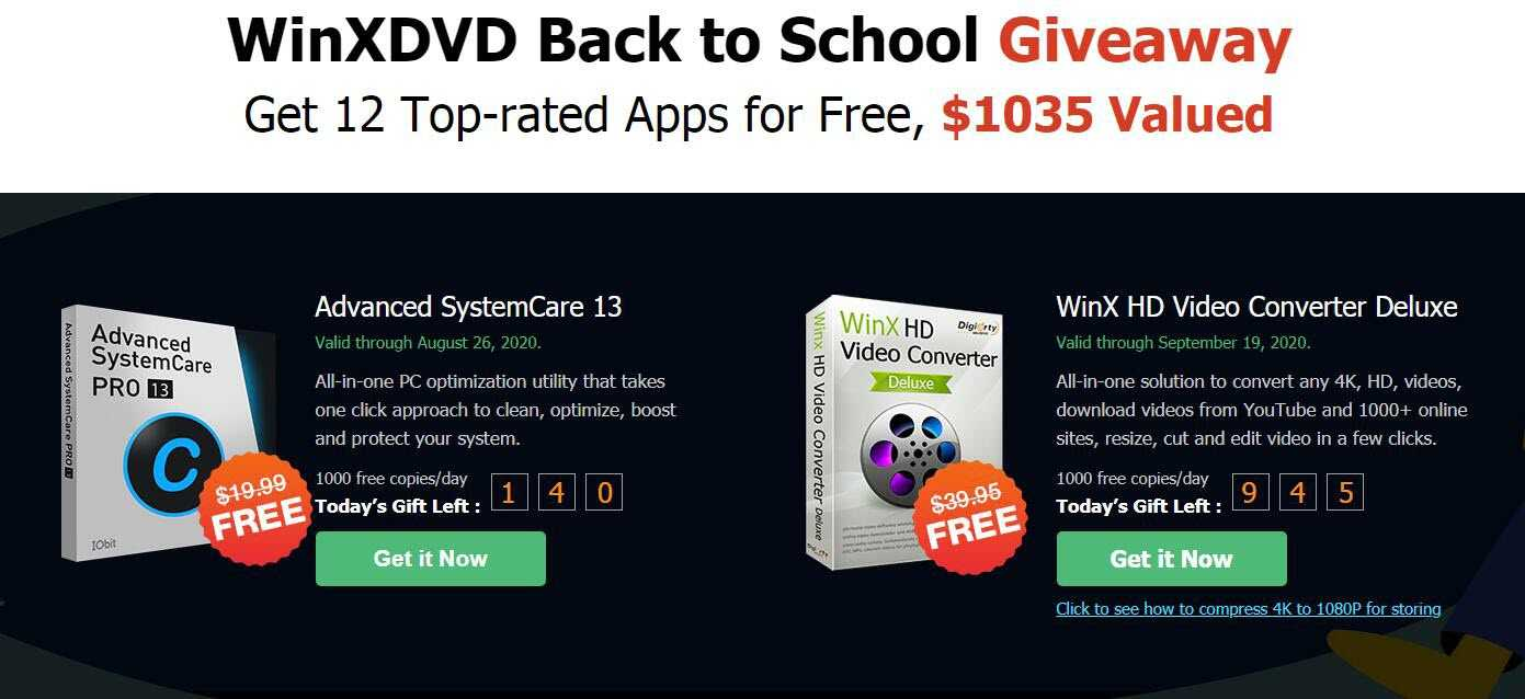 "Giveaway von mehreren Programmen bis 19.September als ""Back to School"" (z.B. Ashampoo Backup 2020, Glary Utilities, WinX HD Video Converter, FileWhopper)"