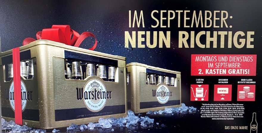 Vorankündigung: GRATIS 1 Kiste Warsteiner durch 2-für-1-Aktion bei Warsteiner Herbstoffensive im September