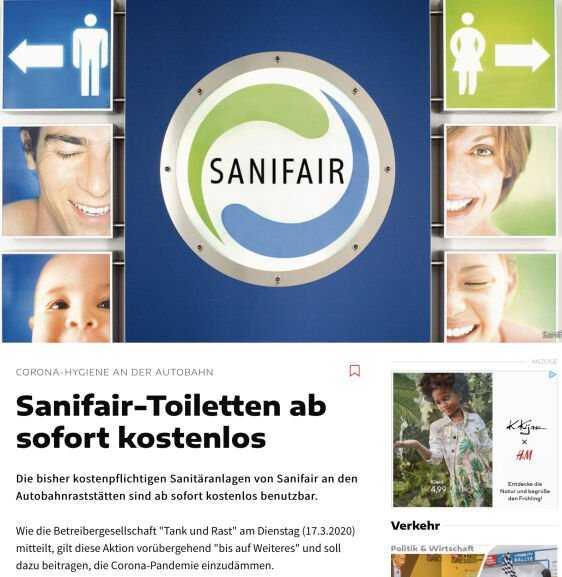 gratis benutzung von sanifair toiletten an der autobahn