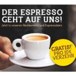 Gratis Espresso bei Tank & Rast (bei 10€ Verzehrwert)