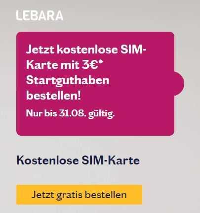 Sim Karte Telekom.Gratis Lebara Sim Karte 3 Guthaben Im Telekom Netz Prepaid