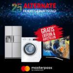 Gratis Lieferung und Komfortservice für Großgeräte bei Alternate (via Masterpass)