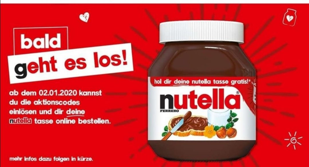 gratis nutella tasse bei kauf von nutella