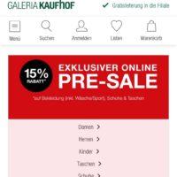 grosser pre sale bei galeria kaufhof 15 rabatt auf bekleidung inkl waesche sport schuhe und taschen