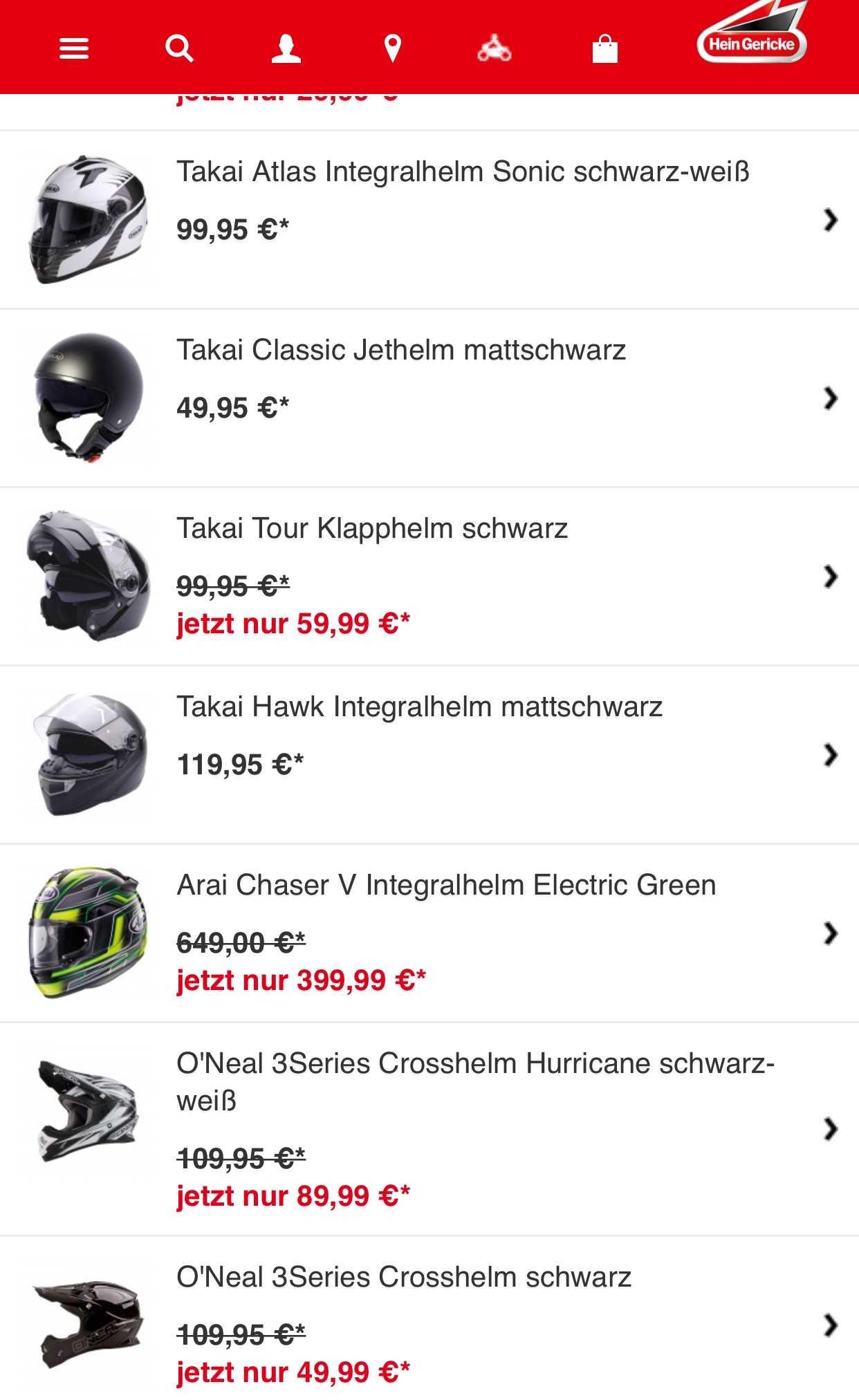 hein gericke hat aktuell viele motorradhelme drastisch im preis gesenkt