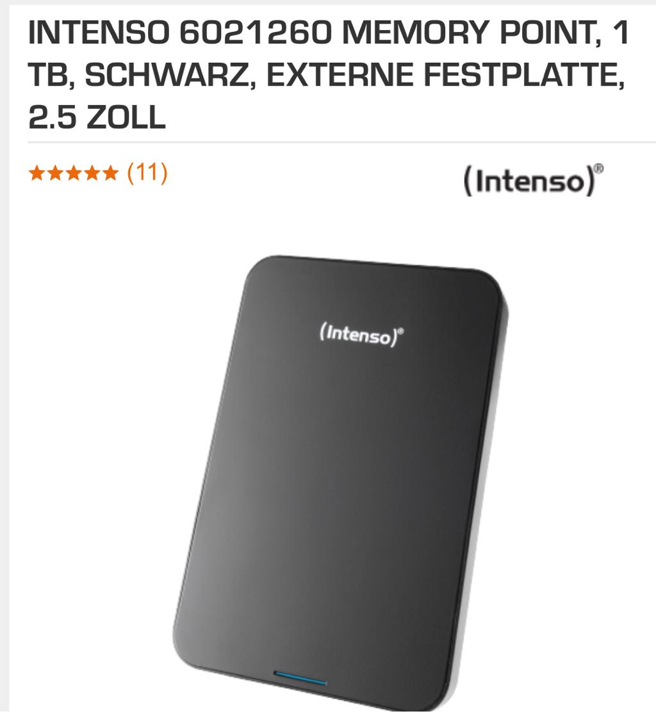 intenso 6021260 memory point 1 tb schwarz externe festplatte 2 5 zoll fuer 44e bei saturn