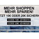 Jeans-Direct: 10€ oder 20€ Rabatt auf alles! (50€/99€ MBW)